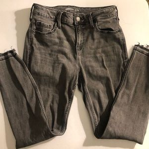 Old Navy Rockstar Super Skinny Grey Ripped Jeans